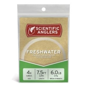 Scientific Anglers Freshwater Nylon Tapered Leader, 7.5′ 4X Fishing
