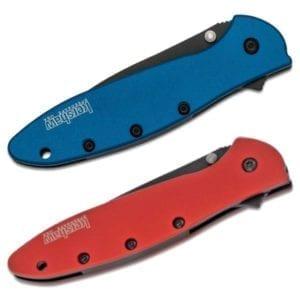 Kershaw Leek Black Blade Folding Knife, Blue or Red Handle Folding Knives