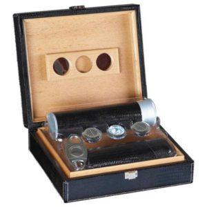 Prestige Import Group Alligator 20-Count Black Leather Humidor Gift Set Cigars