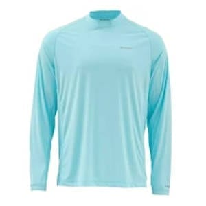Simms SolarFlex LS Solid Crewneck Shirt – Light Turquoise Men's Clothing