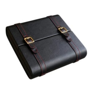 Augustus 20 Count Black Leather Travel Cigar Humidor Cases