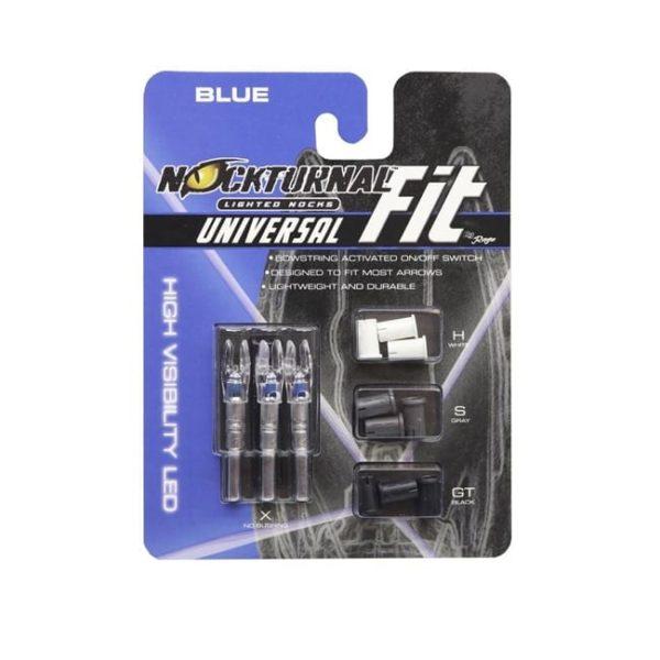 Nockturnal FIT Universal Size Blue Lighted Nock – 3 Pack Archery