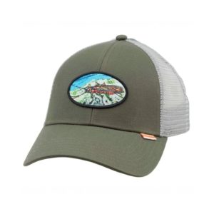 SIMMS Salmon Fly Patch Trucker Cap Clothing