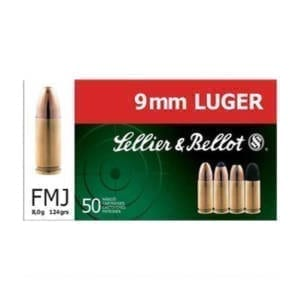 Sellier & Bellot 9MM Luger 124 GR FMJ Rounds Ammunition