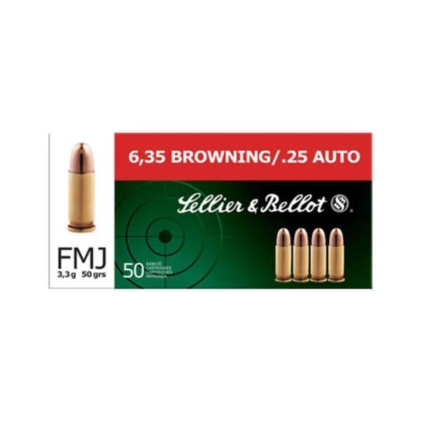Sellier & Bellot Ammunition .25 ACP, Full Metal Jacket, 50 Gr