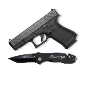 Cutting Edge Combination's- Glock G19 G5 9MM Handgun + Famars Tactical Knife Firearms