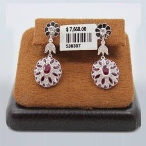 Diamond & Ruby Earnings7.12 Grams – 3.12 Carat Jewelry