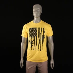 Second Amendment Rifle Flag Yellow T-Shirt (Medium) Clothing