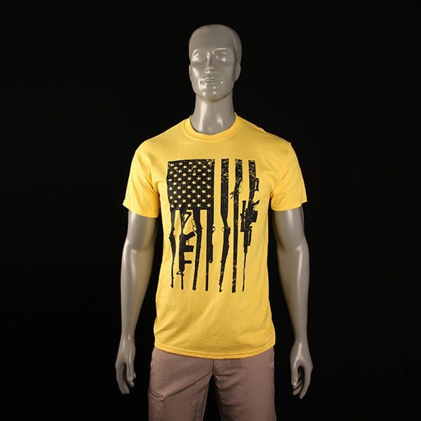 Second Amendment Rifle Flag Yellow T-Shirt (2XL) Clothing