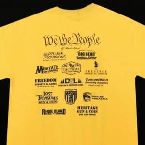 Second Amendment Rifle Flag Yellow T-Shirt (Medium) Clothing