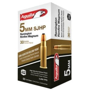 Aguila 5mm RRM 50 Rounds 30 Grain SJHP 2300fps 5mm
