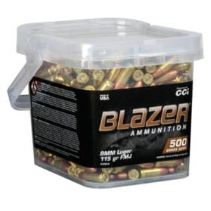 CCI Blazer Brass 9MM 115 Grain FMJ 500 Round Bucket 9MM
