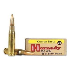 Hornady Custom .308 Winchester 168Grain BTHP Ammunition