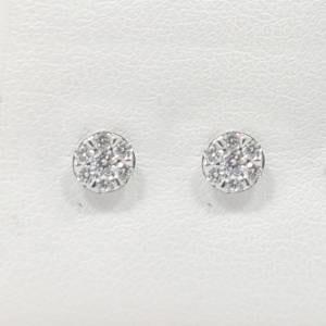 14k White Diamond Stud Earrings Jewelry
