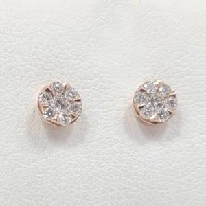 14k Rose Gold Diamond Stud Earrings Jewelry
