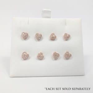 14k Rose Gold Heart Diamond Earrings Jewelry