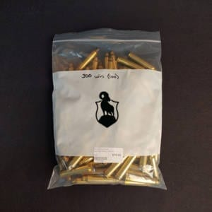 Once Fired Brass .300 Winchester 100 Rounds Once Fired Brass